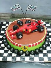 Red Racing car cake with Tyres on the base Formula 1, F1, Ferrari, Birthday Cake, Racing, Base, Shapes, Party, Desserts