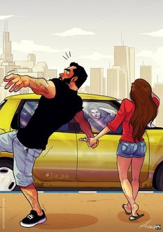 Illustrator Yehuda Devir creates funny relationship comics about him and his wife, Maya. With a bold style and dynamic lines, these scenes come to life. Couple Funny, Cute Couple Comics, Couples Comics, Couple Cartoon, Funny Couples, Bd Comics, Funny Comics, Relationship Comics, Relationship Challenge