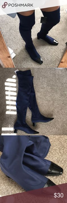 Zara trf otk fabric boots size 38/7.5 These are so cute. Blue and black. I'm 7.5 and these fit me perfectly without socks. Comes with it box. Ask questions. I have tried them on. Zara Shoes Over the Knee Boots