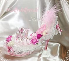 ... shabby chic altered shoe | Vintage and Altered shoes | Pinter