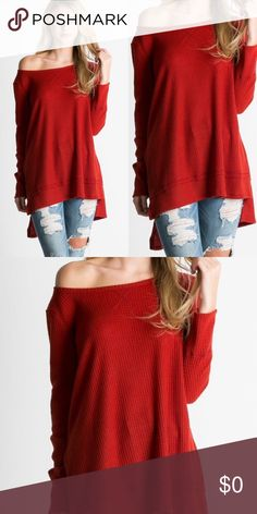Waffle Knit Hi Low Top- ASH RUST Long sleeves waffle Knit top. Brushed Fabric. 60% Polyester 36% Rayon 4% Spandex. Tops