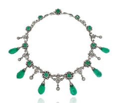 A 19TH CENTURY EMERALD AND DIAMOND NECKLACE