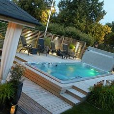 25 Stunningly Awesome Swim Spa Installation Ideas For Your Backyard. These days, the popularity of swim spa is so crazy. There are so many homeowners who are willing to spend lots of bucks to purchase one and make it as the main attraction of their house. Backyard Pool Designs, Swimming Pool Designs, Pool Landscaping, Swimming Pools, Backyard Ideas, Landscaping Software, Hot Tub Deck, Hot Tub Backyard, Backyard Patio