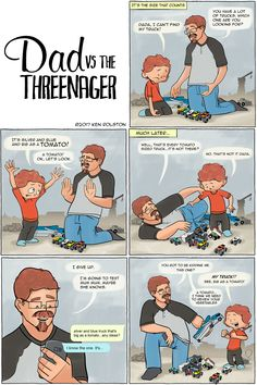Dad vs the Threenager - It's the size that counts.  Reminder...never take a toddler literally.  #webcomic