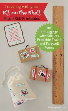DIY Elf on the Shelf Luggage with FREE Printable Poems and Luggage Stickers. Printable Stickers, Free Printables, Elf On Shelf Printables, Elf On The Shelf, Shelf Elf, Farewell Poems, L Elf, Elf Door, Elf Clothes