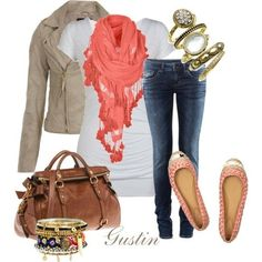Taupe Jacket, White Tee, Coral Scarf, Dark Jeans, Peach Flats, Leather Bag, and Gold Jewelry Outfit