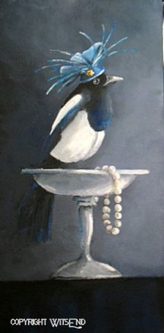 'MILLICENT THE MAGNIFICENT MAGPIE'. Magpie Bird painting  original fascinator pearls and silver compote still life art by 4WitsEnd, via Etsy  SOLD