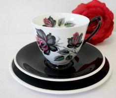 "Buy An exceptionally rare vintage ""Royal Albert"" fine bone china ""Masquerade"" pattern trio. price/trio for"