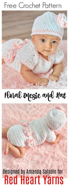Free Crochet Pattern - Floral Onesie and Hat