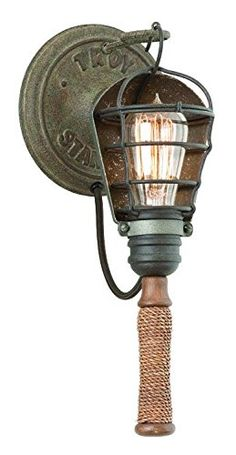 Troy Lighting Yardhouse 1-Light Wall Sconce - Rusty Galvanized Finish with Manila Rope and Wood Accents