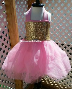 3 piece birthday outfit tutu pink and gold birthday baby girl tutu dress, sequin baby dress, toddler flower girl dress
