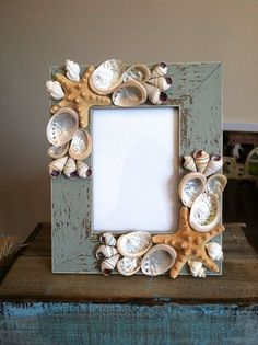 Beach Decor Seashell Picture Frame Starfish by ShellsUnlimited