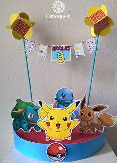 Dimequesi 's Birthday / Pokemon - Photo Gallery at Catch My Party Zelda Birthday, 9th Birthday Cake, Pokemon Birthday, Pokemon Party, Pokemon Go, Birthday Parties, Pikachu, Birthday Party Centerpieces, Birthday Decorations
