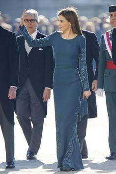 Queen Letizia sported a floor-sweeping gown by her favourite designer Felipe Varela.