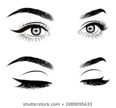 Abstract fashion illustration of the eye with creative makeup. Hand drawn vector idea for business visit cards, templates, web, salon banners,brochures. Natural eyebrows and glam eyelashes - Buy this stock vector and explore similar vectors at Adobe Stock How To Draw Eyelashes, Fake Eyelashes, Sexy Makeup, Glam Makeup, Eyebrows Sketch, Banners, Eyelash Logo, Natural Eyebrows, Illustration
