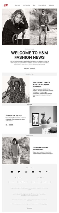 Subject Line: Welcome to H&M Fashion News! - Welcome emails - H&m Fashion, Fashion 2020, Fashion News, Fashion Trends, Online Marketing, Digital Marketing, H&m Sale, Welcome Emails, Email Design Inspiration