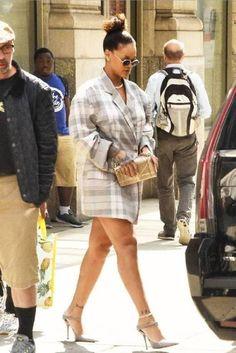 Rihanna wearing Balenciaga Leather Point-Toe Mules