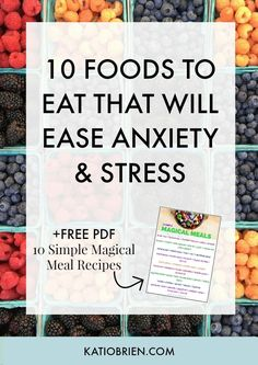 10 Foods to Help Ease Anxiety & Stress. Start eating these 10 foods to reduce anxiety or reduce stress. Plus, sign up for the free download of 10 Simple Magical Meal Recipes!