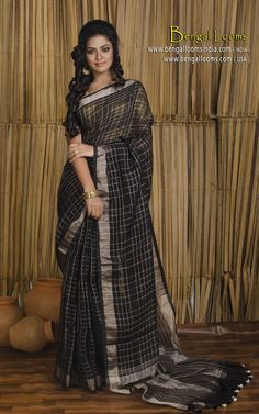 Pure Handloom Khadi Linen Saree with Zari Checks all over the body in Black and Antique Gold