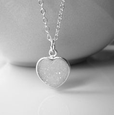 White Heart Druzy Necklace / Sterling Silver and by SilverorBronze, $32.00