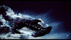 Wallpaper battlecruiser flying through the clouds