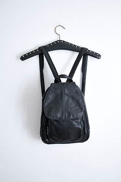 VTG 90s Faux Leather Black Mini Retro Adjustable Backpack Rucksack Festival