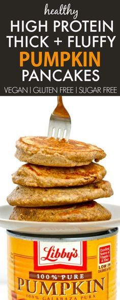 Healthy THICK and FLUFFY Pumpkin Gingerbread Pancakes loaded with protein and made with NO sugar! {vegan, gluten free, sugar free recipe}- thebigmansworld.com