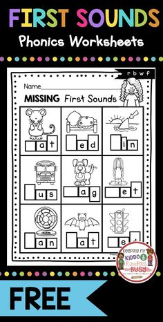 PHONICS worksheets and activities for kindergarten prek and preschool - print for FREE - teach initial sounds - beginning sounds in CVC words and letter sounds - great for phonemic awareness and phonological awareness - try FREEBIES and literacy center i Letter Sound Activities, Phonics Activities, Phonemic Awareness Activities, Phonemic Awareness Kindergarten, Preschool Learning, Kindergarten Activities, Kindergarten Letter Worksheets, Free Phonics Worksheets, Phonics For Preschool