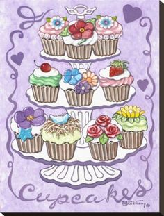 Cupcakes Stretched Canvas Print by Janet Kruskamp at Art.com  DIY: page from coloring book, keep the stand white (looks like china), paint background a pastel color, use a darker shade for detail. So sweet and would be a fun family project.