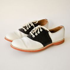 Saddle shoes were the thing to wear for many, many years in the 50's.