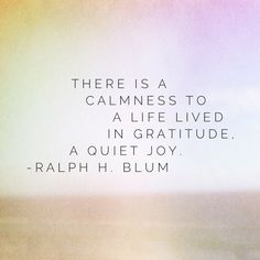 """There is a calmness to a life lived in gratitude, a quiet joy."" - Ralph H. Blum"