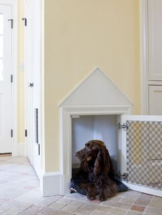 Custom dog crate/area built into the mudroom closet. What a GREAT idea!