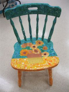 Painted chairs based on great artists.... Fundraiser!!