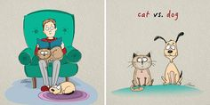There's a never ending battle between what's better cats or dogs, and Moscow-based artist Bird Born's illustrations will probably add even more fuel to the fire. He decided to show 6 major differences between our beloved four-legged friends.