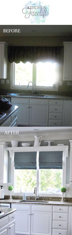 Window Treatment Ideas for Kitchen Window Over Sink . Window Treatment Ideas for Kitchen Window Over Sink . Kitchen Facelift, Kitchen Redo, New Kitchen, Kitchen Remodel, Kitchen Ideas, Small Kitchen Makeovers, Kitchen White, Kitchen Small, Small Bathroom
