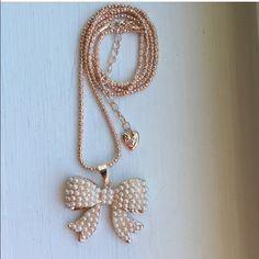 """Betsey Johnson Pearl Bow Pendant Necklace New 28"""" Betsey Johnson Pearl Bow Pendant Necklace New 28"""" Betsey Johnson Jewelry Necklaces"""