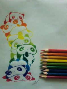 Colorful stacked pandas