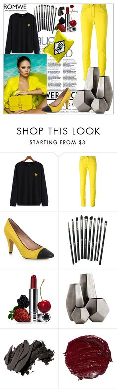 """""""ROMWE CONTEST - Banana Embroidered Black Sweatshirt"""" by pantarei85 ❤ liked on Polyvore featuring Versace, Revolution, Clinique, Cyan Design, Bobbi Brown Cosmetics and romwe"""