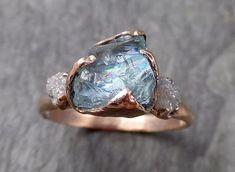 Aquamarine Diamond Raw Uncut rose 14k Gold Engagement Ring Multi stone Wedding Ring Custom One Of a Kind Gemstone Bespoke Three stone Ring byAngeline 1017