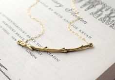 Branch Necklace | Sterling Silver or Gold Filled Chain | Simple Twig | Twisted Tree Branch | Nature Curved Branch Necklace | Delicate
