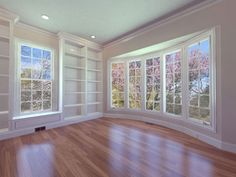 Library Bookcases with Window Seat and bow window