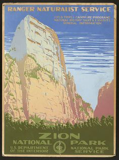 classic posters, free download, graphic design, national park, retro prints, travel, travel posters, vintage, vintage posters, wpa, national park, Zion National Park, US Dept of Interior - Vintage Travel Poster