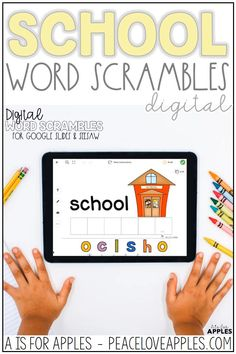 Perfect for distance learning and teaching with technology. These school-themed vocabulary cards helps children practice spelling, one-to-one correspondence and letter knowledge. Use these with the Seesaw app and Google Slides