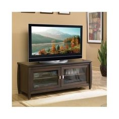 "Elegant 48"" TV Stand Wood Media Entertainment Center Home Theater Walnut Cabinet"