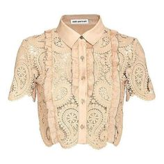 Self Portrait Paisley Lace Crop Blouse ❤ liked on Polyvore featuring tops, blouses, beige crop top, lace collar blouse, lace crop top, short sleeve tops and beige lace top