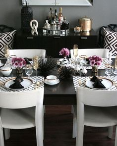 Modern and moody dining table.