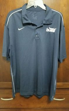 Nike DRI-FIT Navy S/S Polo Shirt with  bulls  LOGO & White Piping Mens XL