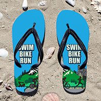 Triathlon Tri Country Flip Flops - Kick back after a triathlon with these great flip flops! Fun and functional flip flops for all triathletes.