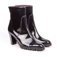 Rinaldi mid block heel vegan ankle boot in black faux patent leather with a non leather synthetic lining 100% Vegan, vegetarian and cruelty-free.