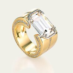 Idée et inspiration Bague Diamant : Image Description Tamsen Z by Ann Ziff ~ Emerald-Cut Diamond and Diamond Pavé Ring in Platinum and Gold Diamond Rings, Diamond Jewelry, Diamond Cuts, Jewelry Rings, Jewelry Accessories, Fine Jewelry, Jewelry Design, Jewlery, Pave Ring